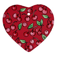 Cherry Cherries For Spring Heart Ornament (2 Sides) by BubbSnugg