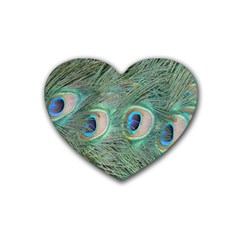 Peacock Feathers Macro Rubber Coaster (heart)  by GiftsbyNature