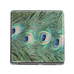 Peacock Feathers Macro Memory Card Reader (square) by GiftsbyNature