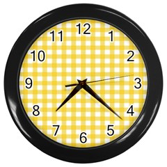 Deep Yellow Gingham Classic Traditional Pattern Wall Clocks (black) by CircusValleyMall