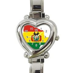 Flag Map Of Bolivia  Heart Italian Charm Watch by abbeyz71