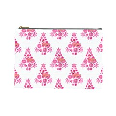 Pink Flamingo Santa Snowflake Tree  Cosmetic Bag (large)  by CrypticFragmentsColors