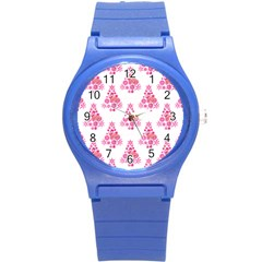 Pink Flamingo Santa Snowflake Tree  Round Plastic Sport Watch (s) by CrypticFragmentsColors