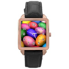 Easter Egg Rose Gold Leather Watch  by AnjaniArt