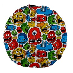 Face Creeps Cartoons Fun Large 18  Premium Round Cushions by AnjaniArt