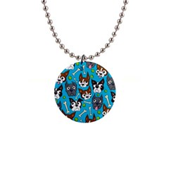 Face Dog And Bond Button Necklaces by AnjaniArt