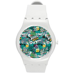 Haha Wow Pattern Round Plastic Sport Watch (m) by AnjaniArt