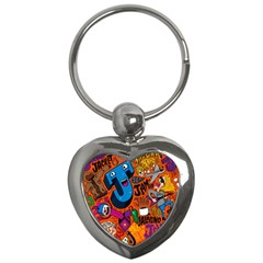 J Pattern Cartoons Key Chains (heart)  by AnjaniArt