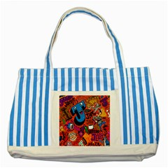 J Pattern Cartoons Striped Blue Tote Bag by AnjaniArt