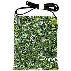 Green Boho Flower Pattern Zz0105 Shoulder Sling Bag by Zandiepants