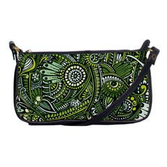 Green Boho Flower Pattern Zz0105 Shoulder Clutch Bag by Zandiepants