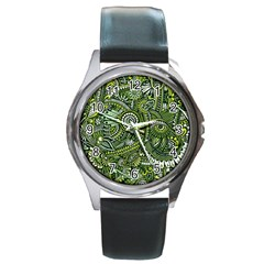 Green Boho Flower Pattern Zz0105 Round Metal Watch by Zandiepants