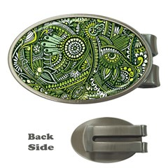 Green Boho Flower Pattern Zz0105 Money Clip (oval) by Zandiepants