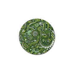 Green Boho Flower Pattern Zz0105 Golf Ball Marker (4 Pack) by Zandiepants