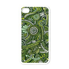Green Boho Flower Pattern Zz0105 Apple Iphone 4 Case (white) by Zandiepants