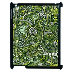 Green Boho Flower Pattern Zz0105 Apple Ipad 2 Case (black) by Zandiepants