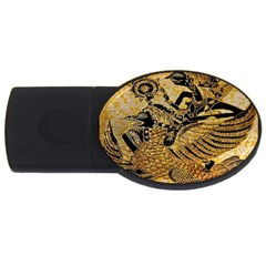 Golden Colorful The Beautiful Of Art Indonesian Batik Pattern USB Flash Drive Oval (4 GB)  by Zeze