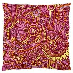 Pink Yellow Hippie Flower Pattern Zz0106 Large Cushion Case (two Sides) by Zandiepants