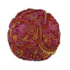 Pink Yellow Hippie Flower Pattern Zz0106 Standard 15  Premium Round Cushion  by Zandiepants