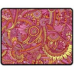 Pink Yellow Hippie Flower Pattern Zz0106 Double Sided Fleece Blanket (medium) by Zandiepants