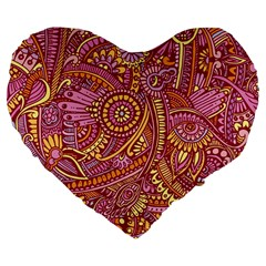 Pink Yellow Hippie Flower Pattern Zz0106 Large 19  Premium Flano Heart Shape Cushion by Zandiepants