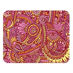 Pink Yellow Hippie Flower Pattern Zz0106 Double Sided Flano Blanket (large) by Zandiepants