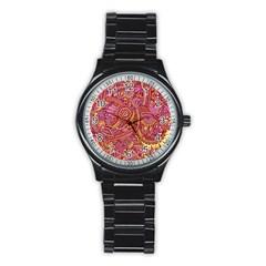 Pink Yellow Hippie Flower Pattern Zz0106 Stainless Steel Round Watch by Zandiepants