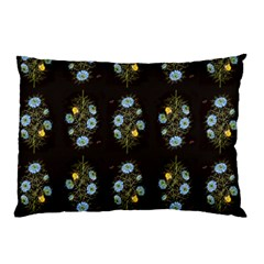 Blue Flowers On Black Pillow Case by fashionnarwhal