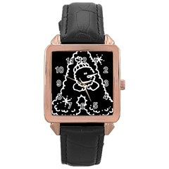 Funny Snowball Doodle Black White Rose Gold Leather Watch  by yoursparklingshop