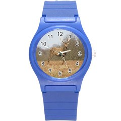 Red Deer Stag On A Hill Round Plastic Sport Watch (s) by GiftsbyNature