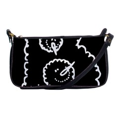 Funny Black And White Doodle Snowballs Shoulder Clutch Bags by yoursparklingshop