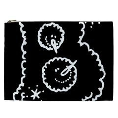 Funny Black And White Doodle Snowballs Cosmetic Bag (xxl)  by yoursparklingshop