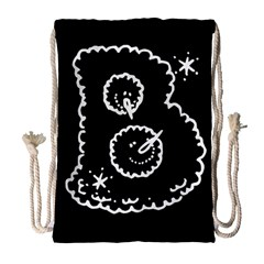 Funny Black And White Doodle Snowballs Drawstring Bag (large) by yoursparklingshop