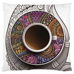 Ethnic Pattern Ornaments And Coffee Cups Vector Standard Flano Cushion Case (One Side) by Zeze