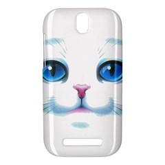 Cute White Cat Blue Eyes Face HTC One SV Hardshell Case by Zeze