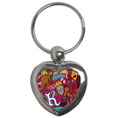 K Pattern Cartoons Key Chains (heart)  by AnjaniArt