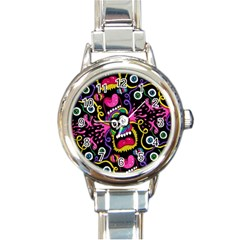 Monster Face Mask Patten Cartoons Round Italian Charm Watch by AnjaniArt