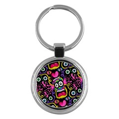 Monster Face Mask Patten Cartoons Key Chains (round)  by AnjaniArt