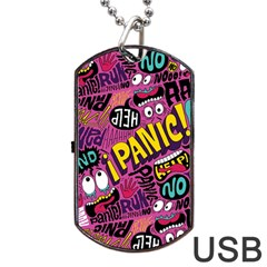 Panic Pattern Dog Tag Usb Flash (two Sides)  by AnjaniArt