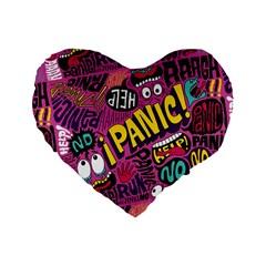 Panic Pattern Standard 16  Premium Heart Shape Cushions by AnjaniArt