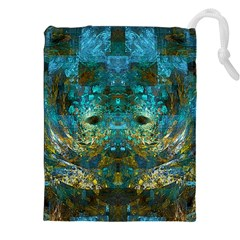 Modern Abstract Art Blue  Drawstring Pouches (XXL) by CrypticFragmentsColors
