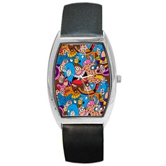 People Face Fun Cartoons Barrel Style Metal Watch by AnjaniArt