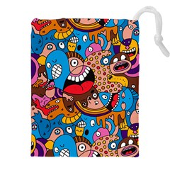 People Face Fun Cartoons Drawstring Pouches (xxl) by AnjaniArt