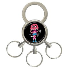 Red Cartoons Face Fun 3 Ring Key Chains by AnjaniArt