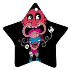 Red Cartoons Face Fun Star Ornament (two Sides)  by AnjaniArt