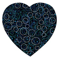 Blue abstract decor Jigsaw Puzzle (Heart) by Valentinaart