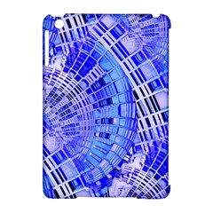 Semi Circles Abstract Geometric Modern Art Blue  Apple Ipad Mini Hardshell Case (compatible With Smart Cover) by CrypticFragmentsDesign
