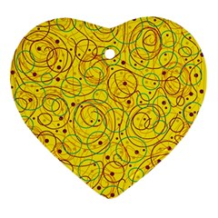 Yellow Abstract Art Ornament (heart)  by Valentinaart