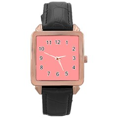 Mona Lisa Pink Colour Rose Gold Leather Watch  by artpics