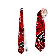 Red abstract decor Neckties (Two Side)  by Valentinaart